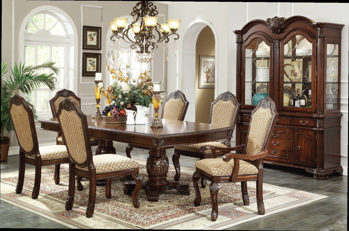 Chateau de ville traditional espresso cherry wood pu for Cherry wood dining room set