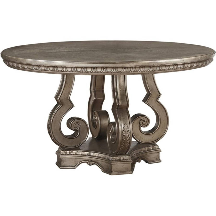Acme Furniture Northville Antique Champagne Round Dining Table The Cly Home