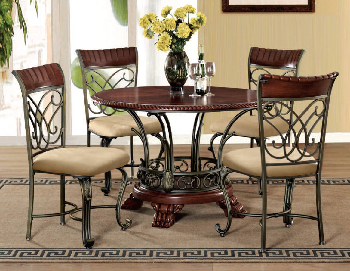 Acme furniture omari cherry bronze 5pc dining room set for Cherry dining room set