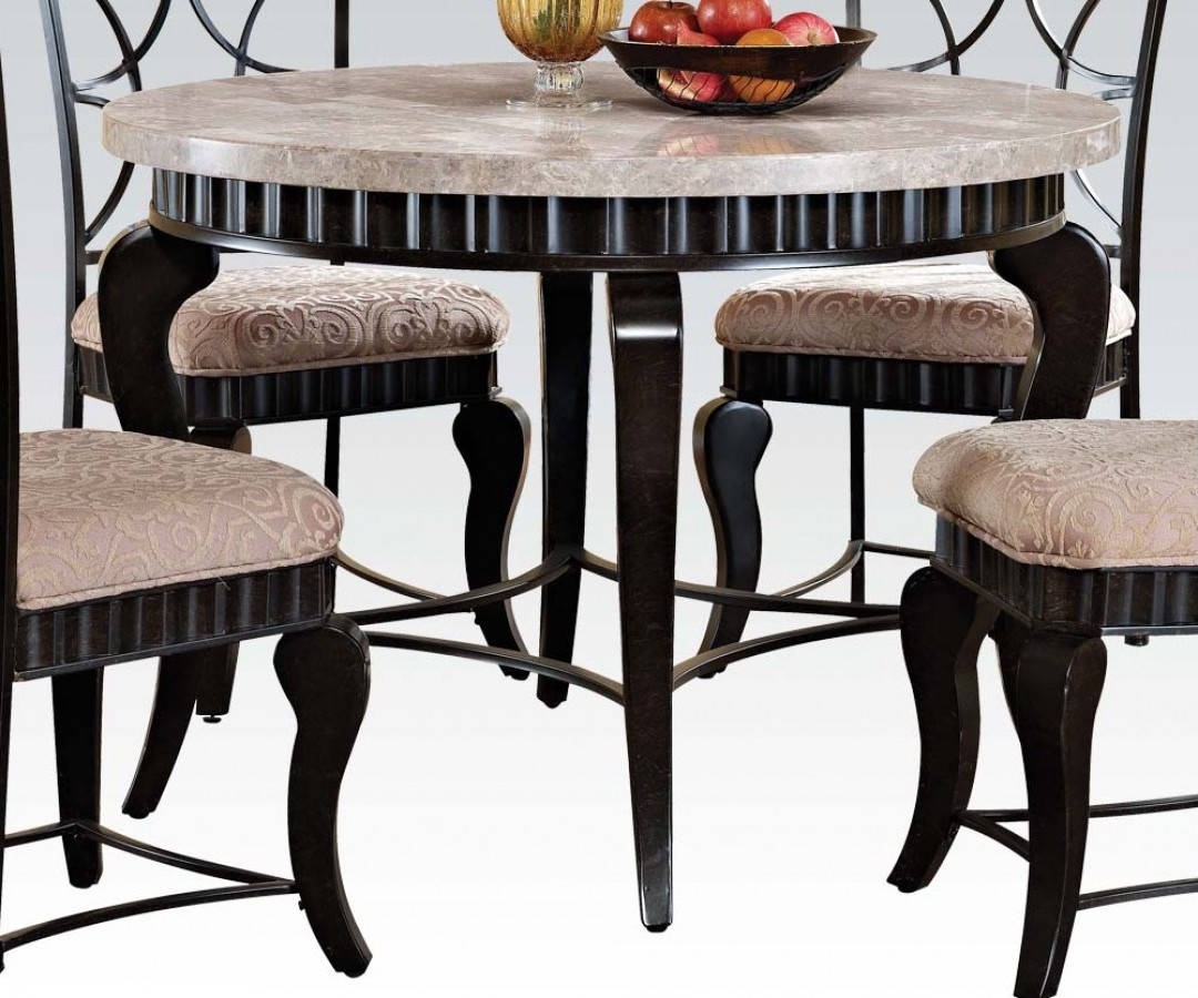 lorencia casual white black gold marble metal round dining table the classy home. Black Bedroom Furniture Sets. Home Design Ideas