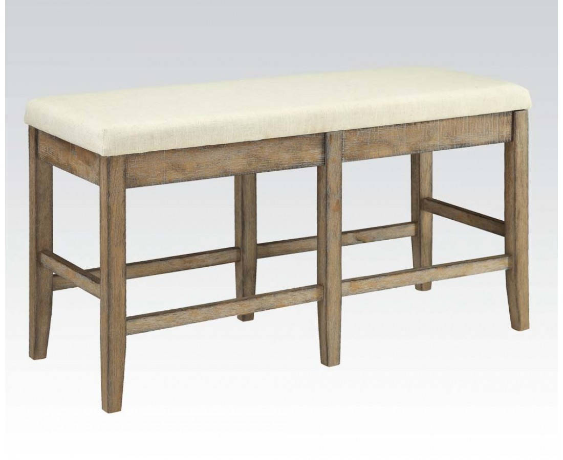 Acme Furniture Claudia White Brown Counter Height Bench