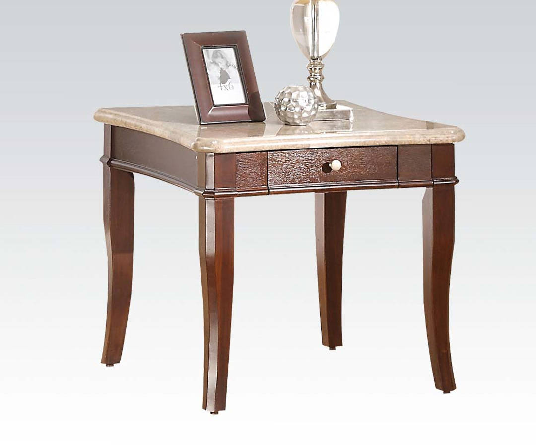Britney White End Table W/Drawer 80109
