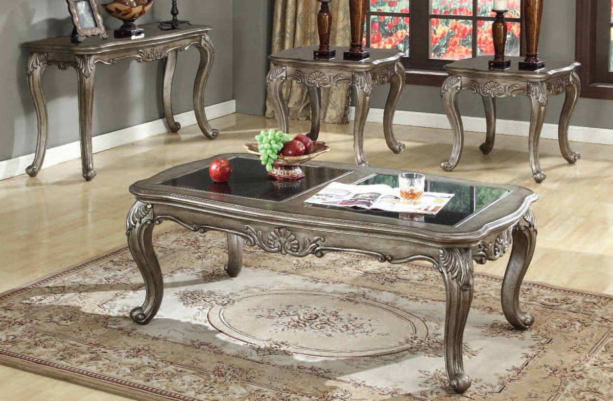 Glass Coffee Table Set: CHANTELLE Grey Glass Coffee Table Sets