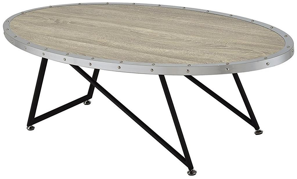Miraculous Acme Furniture Allis Weathered Gray Oak Oval Coffee Table Home Interior And Landscaping Ferensignezvosmurscom