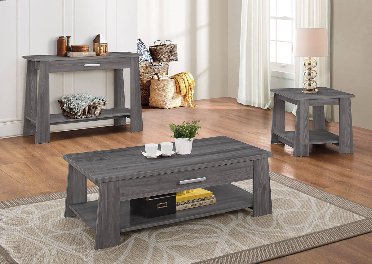 Acme Furniture Falan Dark Gray Pc Coffee Table Set The Classy Home - Coffee table end table console table set