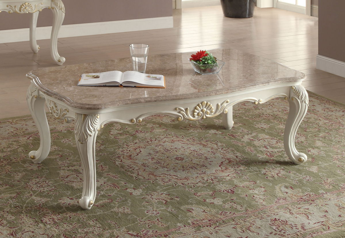 Acme Furniture Chantelle Pearl White Marble Top Coffee Table The