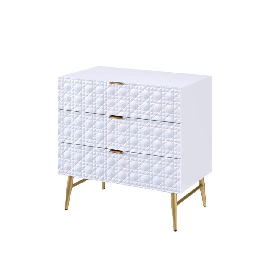 43687101781d Acme Furniture Maisey II White Gold Dresser Chest