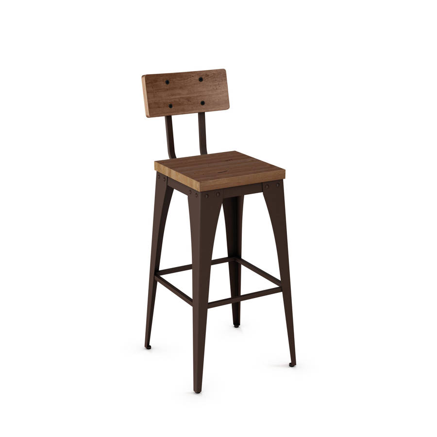 Upright Non Swivel 30 Inch Stool Distressed Solid Wood