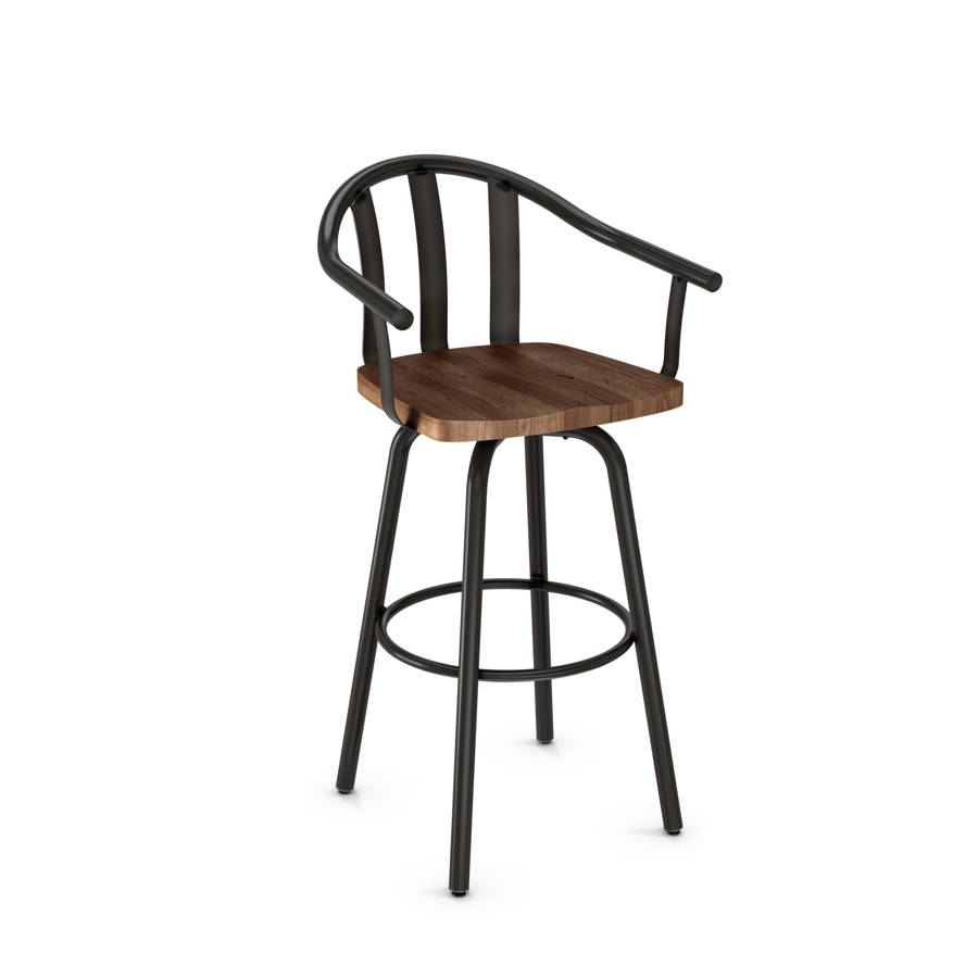 Gatlin Swivel 30 Inch Stool Distressed Solid Wood Seat