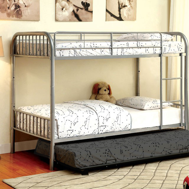 Rainbow Silver Twin Over Bunk Bed