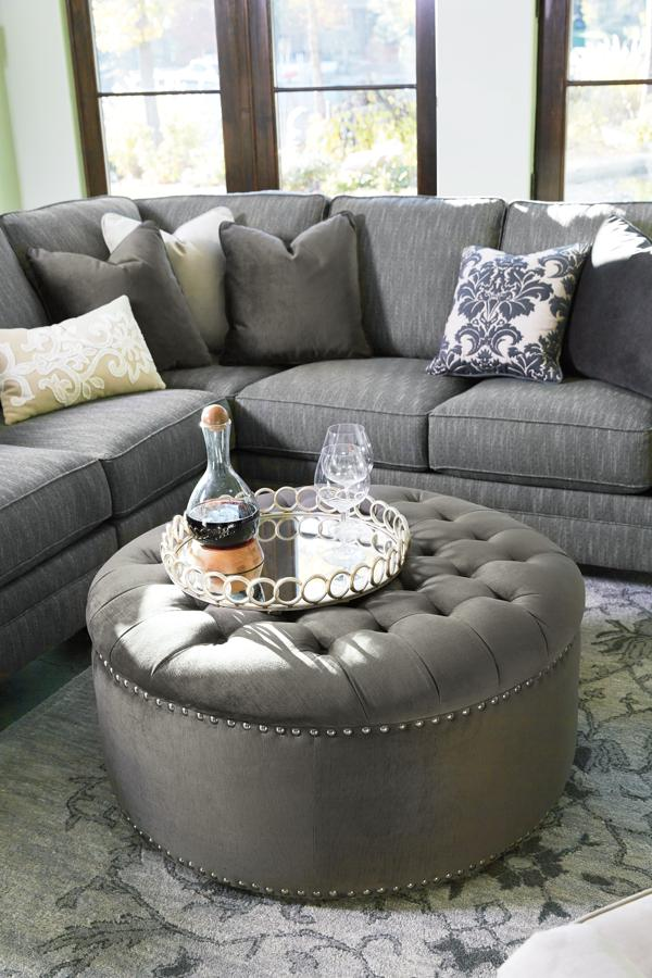 Merveilleux Kittredge Vintage Casual Graphite Fabric Oversized Accent Ottoman | The  Classy Home