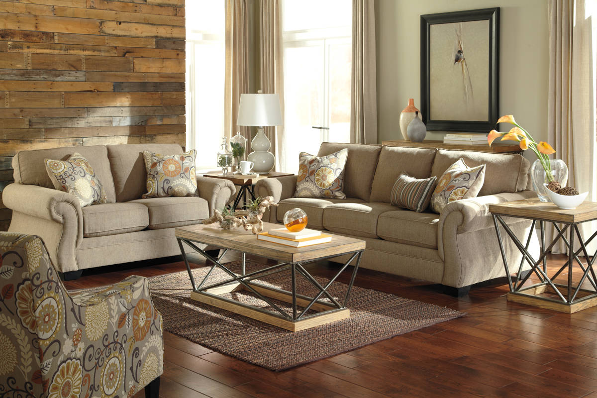 Tailya transitional barley espresso polyester living room for Living room set deals