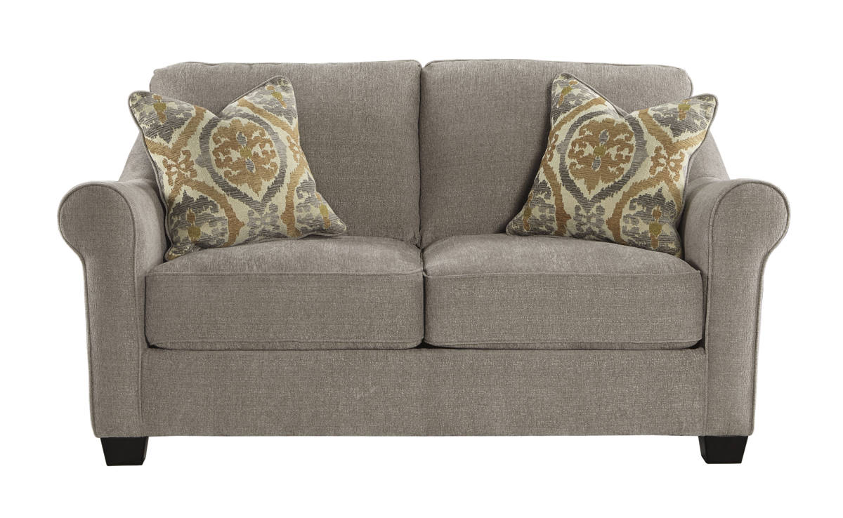 Leola Contemporary Slate Solid Wood Fabric Loveseat 5360135