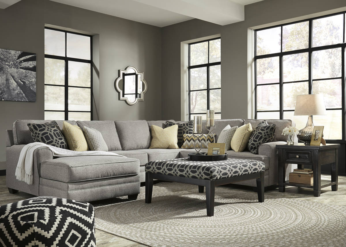 Cresson Fabric Solid Wood Sectional W/LAF Corner Chaise & Ottoman 54907-SEC4
