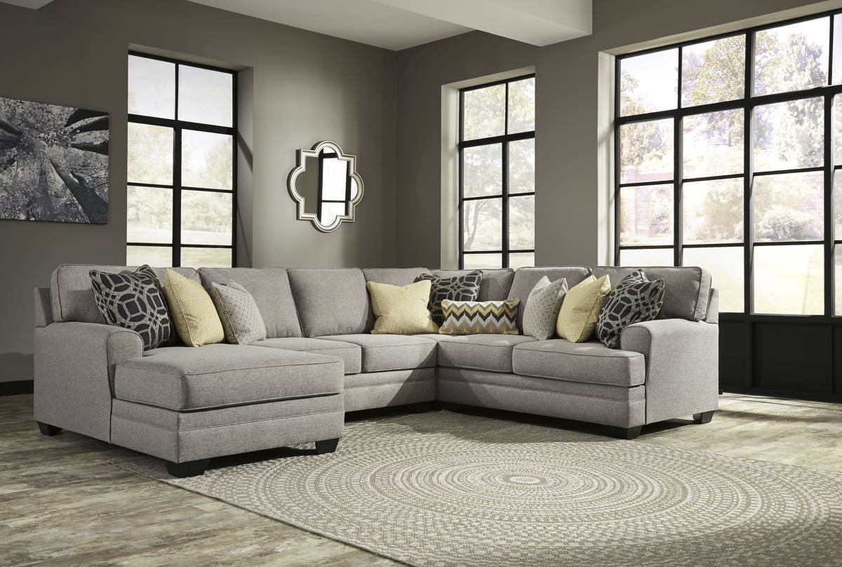 Cresson Contemporary Pewter Fabric Solid Wood Sectionals W/LAF Chaise 54907-SEC-VAR2
