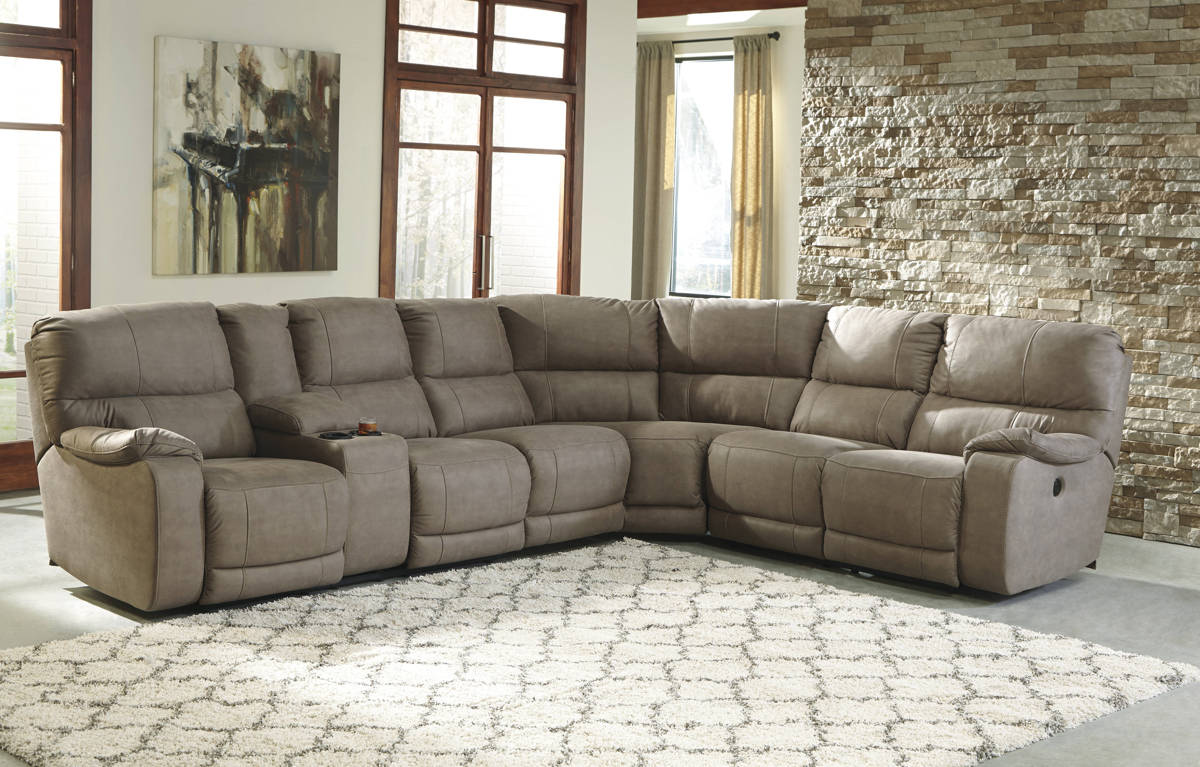 Bohannon Taupe Fabric Sectional W/RAF Reclining Power Loveseat 57403-SEC-S1