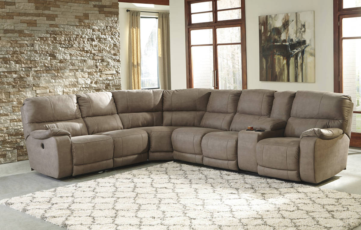Bohannon Taupe Fabric Sectional W/LAF Reclining Power Loveseat 57403-SEC-S2