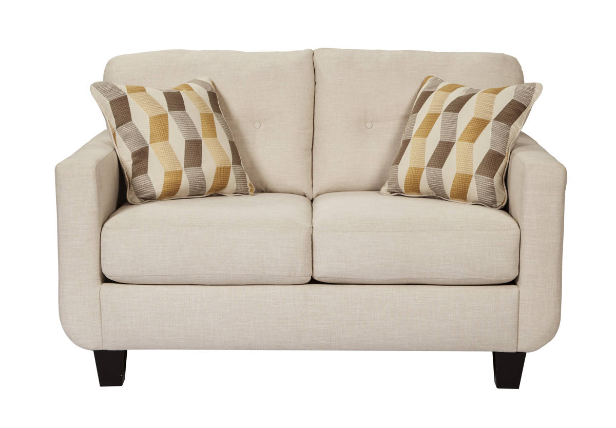 Drasco Contemporary Marble Solid Wood Fabric Loveseat 5980235