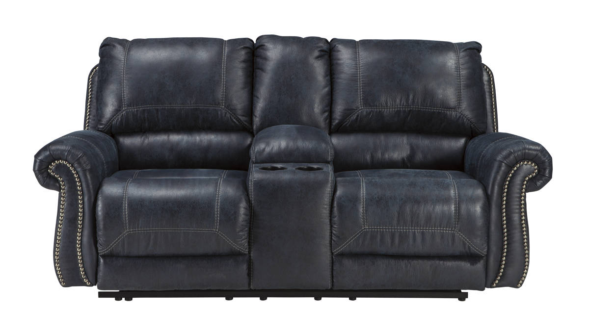 Milhaven Navy Faux Leather Double Recliner Loveseat W/Console 6330494