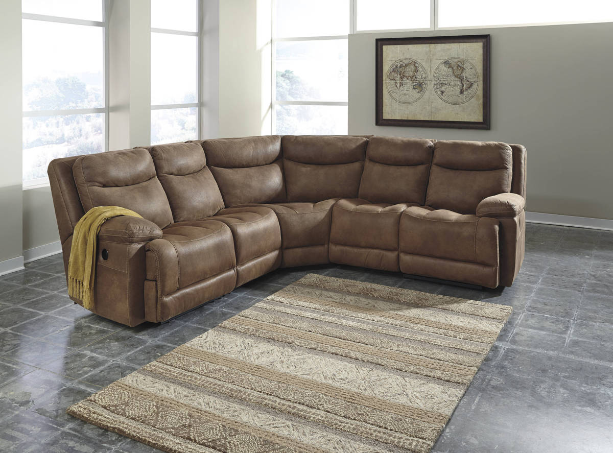 Ashley furniture valto saddle power sectional the classy for Affordable furniture 3 piece sectional in wyoming saddle
