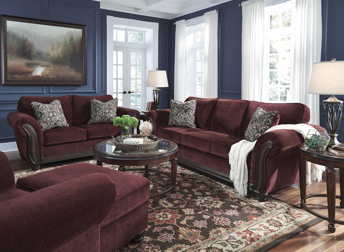 Chesterbrook Burgundy Fabric Wood 3pc Living Room Set 88102-LR-CH-S1