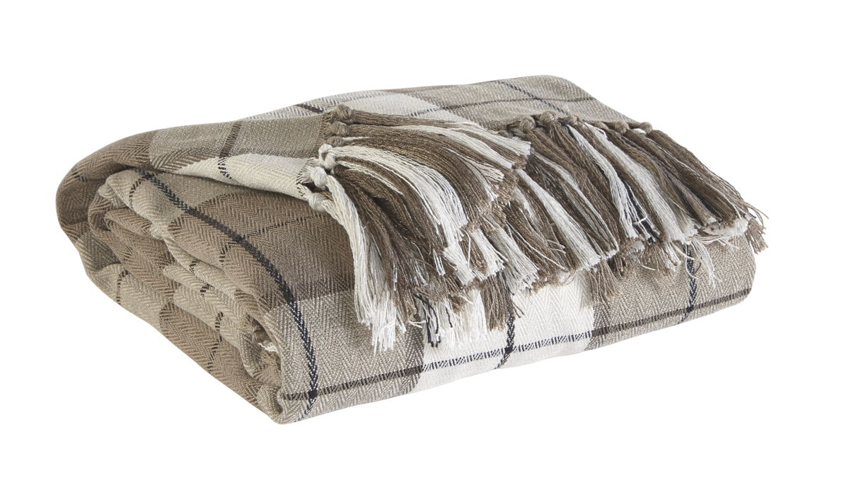 Raylan Traditional Brown Fabric Throw A1000113T