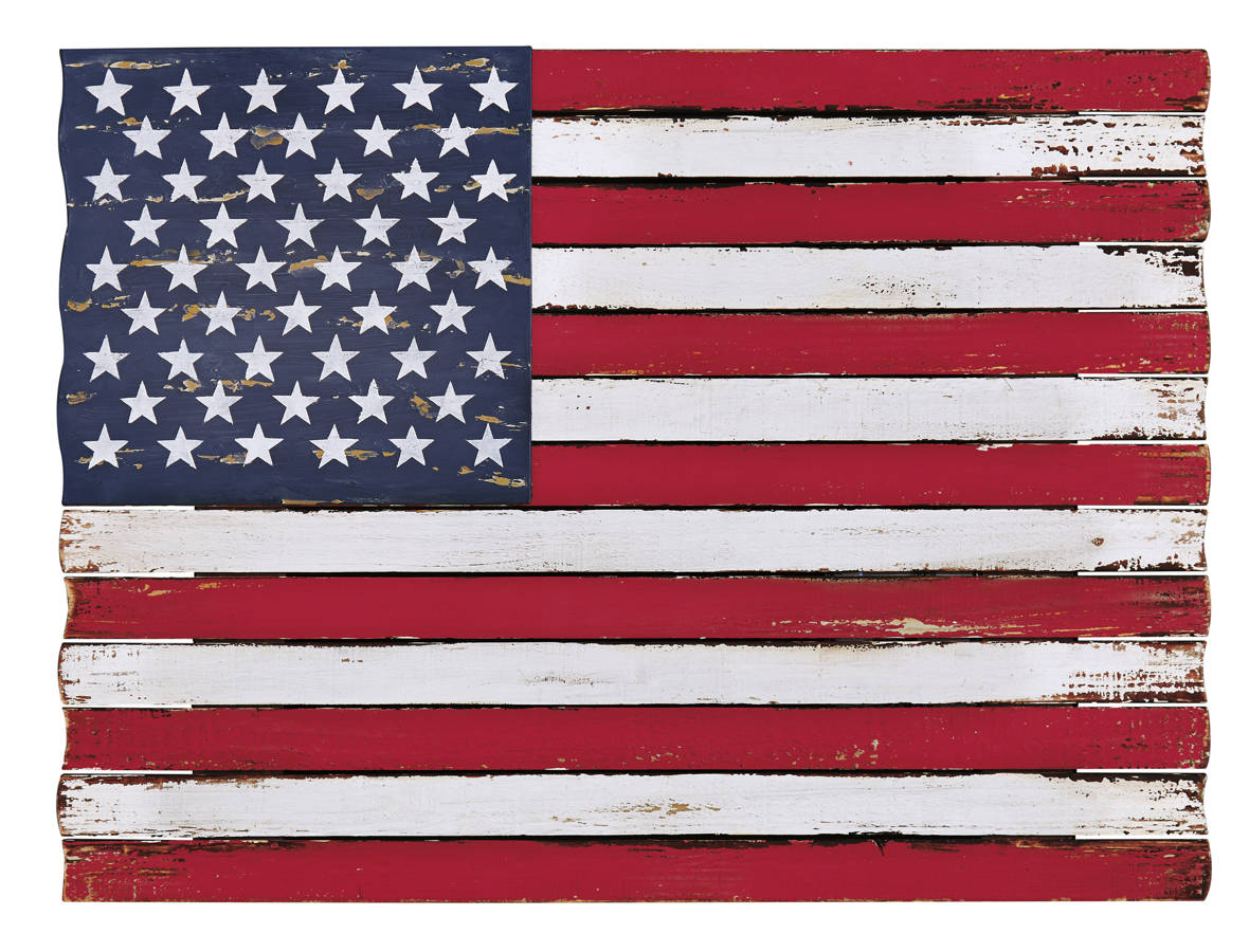 Denholm Casual Red White Blue Wood Metal Wall Decor A8010040