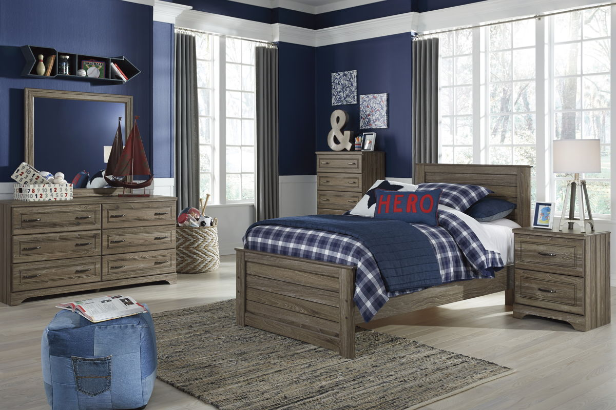 Javarin Contemporary Grayish Brown Wood 4pc Bedroom Set W/Twin Bed B171-KBR-S5