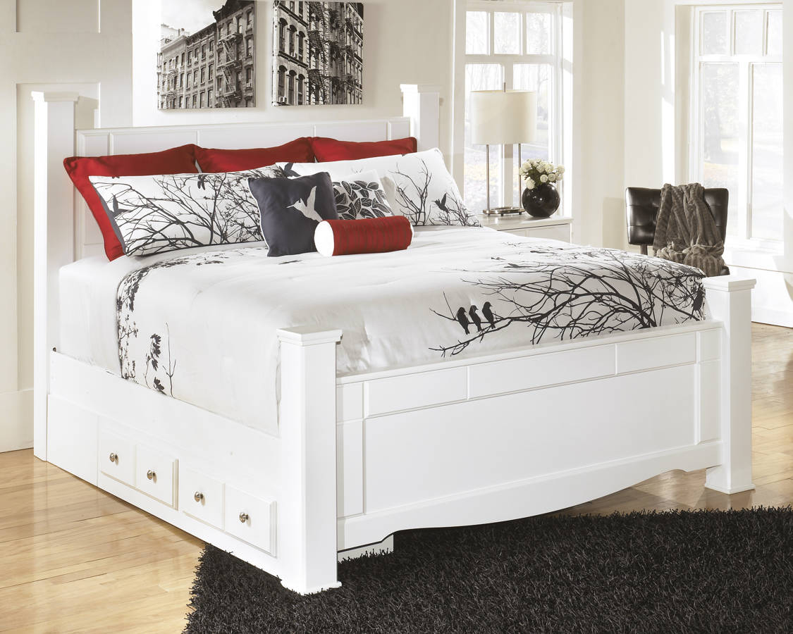 Weeki Contemporary White Wood King Poster Storage Bed B270-KBS