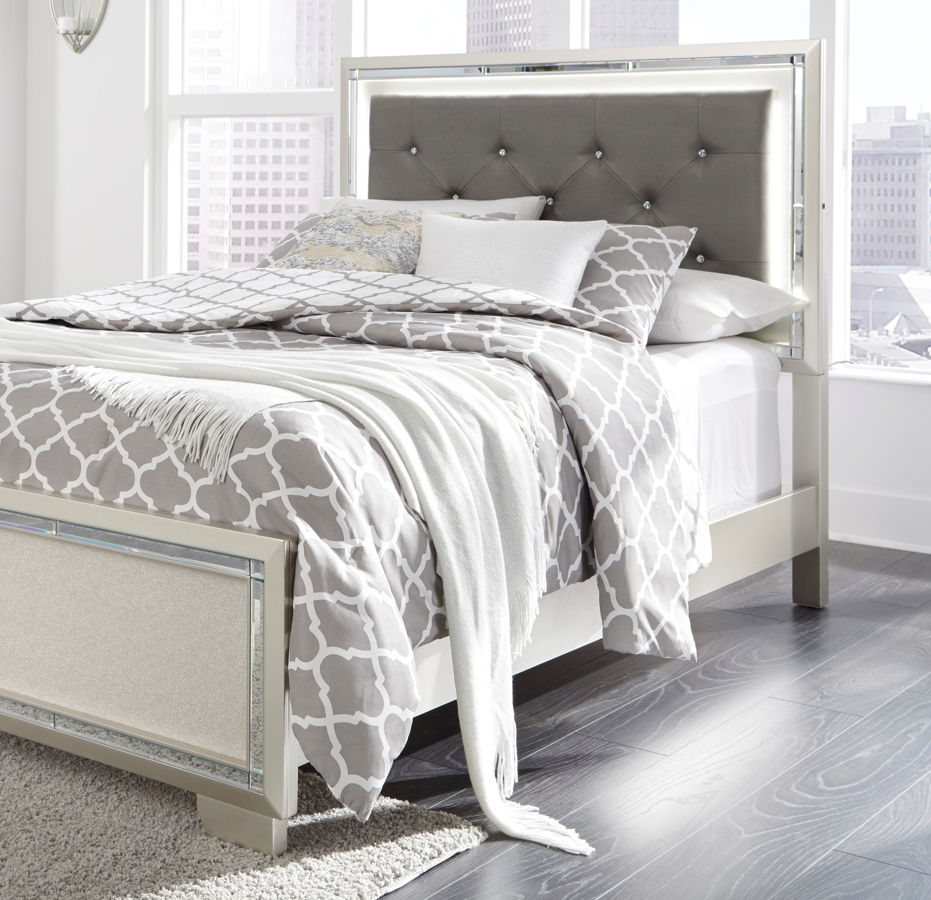 Ashley Furniture Lonnix Silver Queen Upholstered Led Headboard With Bed Frame The Classy Home