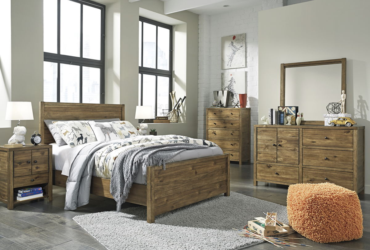 Fennison Contemporary Light Brown Wood 4pc Bedrooms Set W/Panel Bed B544-BR-S-VAR2