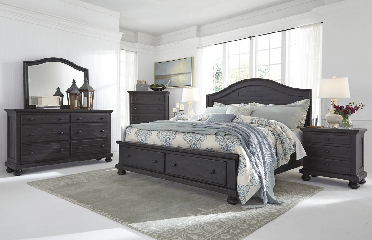 Sharlowe Charcoal Wood Glass 5pc Bedroom Sets W/Storage Panel Bed B635-BR-S-VAR1