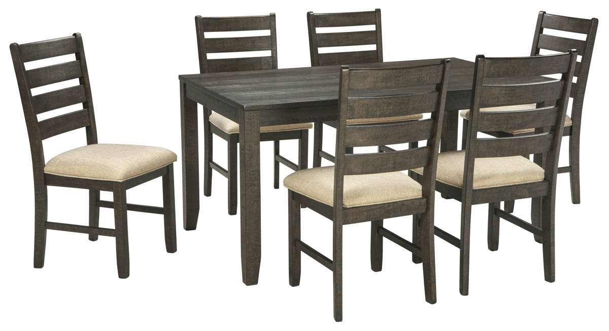 Rokane Casual Brown Fabric Solid Wood 7pc Dining Room Table Set Deal