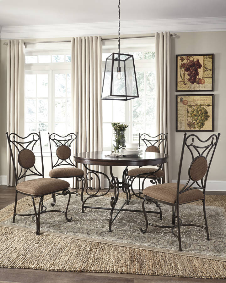 Brulind Traditional Brown Fabric Metal Wood Dining Room Set D584-DR