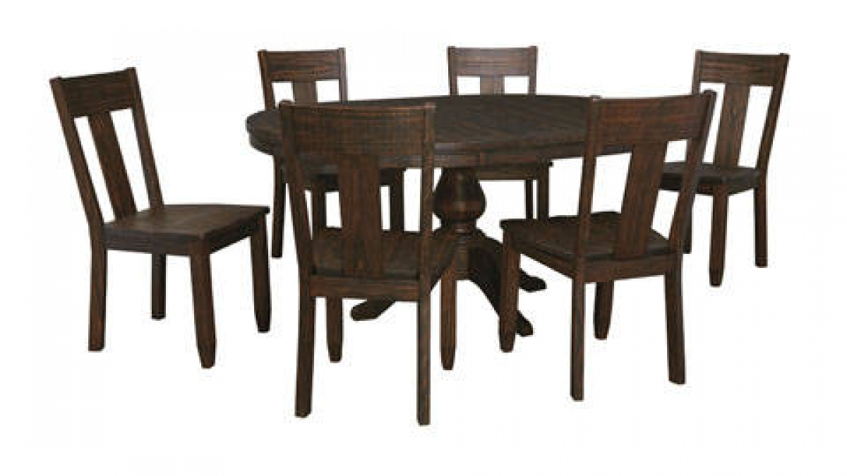 Casual Golden Brown 7Pc Round Table Dining Room Set Kitchen Dining