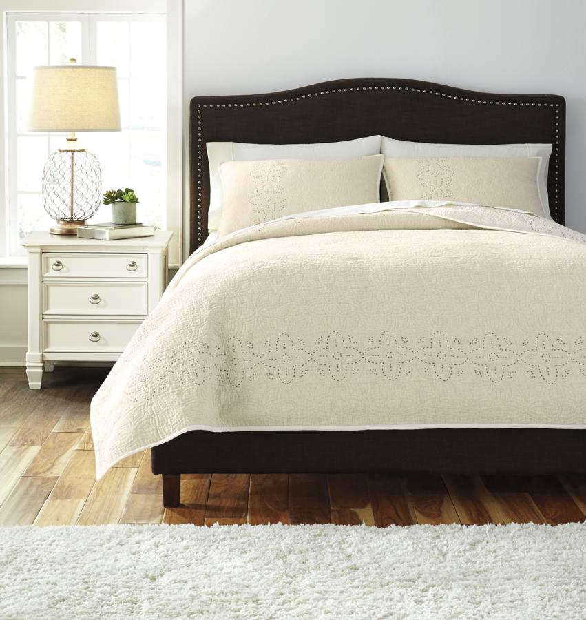 Ashley Discount Furniture Store: Ashley Furniture Stitched Off White King Comforter Set