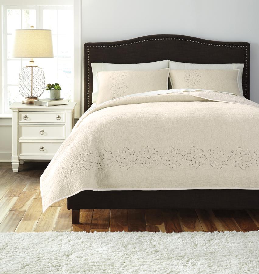 Ashley Furniture Stitched Off White King Comforter Set