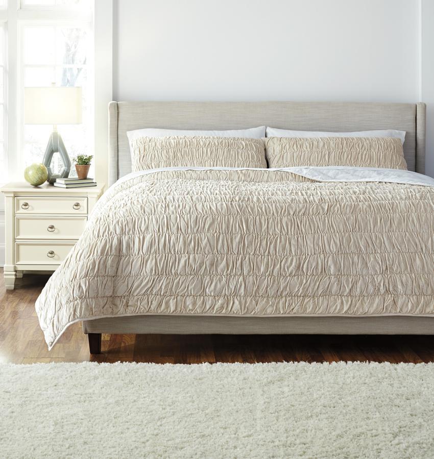 Comforter Sets Queen Ashley: Ashley Furniture Stitched Beige Queen Comforter Set