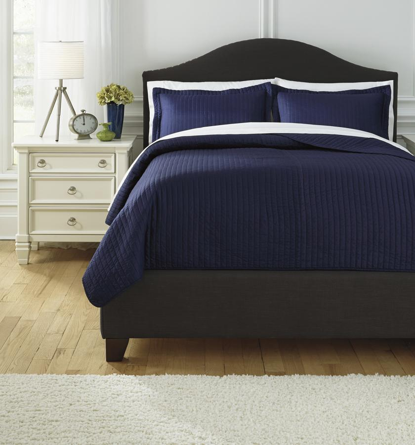 Cheap Modern Furniture Dallas: Ashley Furniture Raleda Navy Queen Coverlet Set