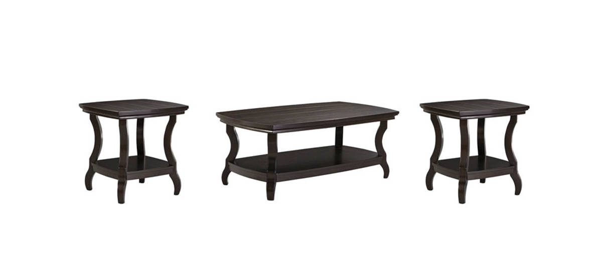 Tellbane Coffee Table.Tellbane Vintage Casual Black Wood Rectangular 3pc Coffee Table Set