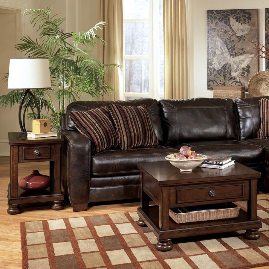 Ashley Furniture Porter Brown Square 3pc Coffee Table Set