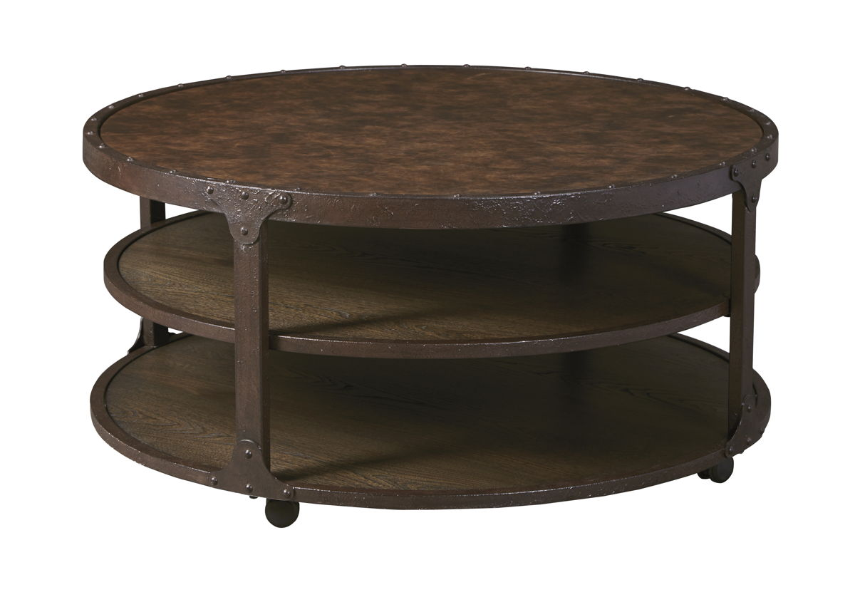 Shofern Urban Rustic Brown Metal Round Cocktail Table T702-8