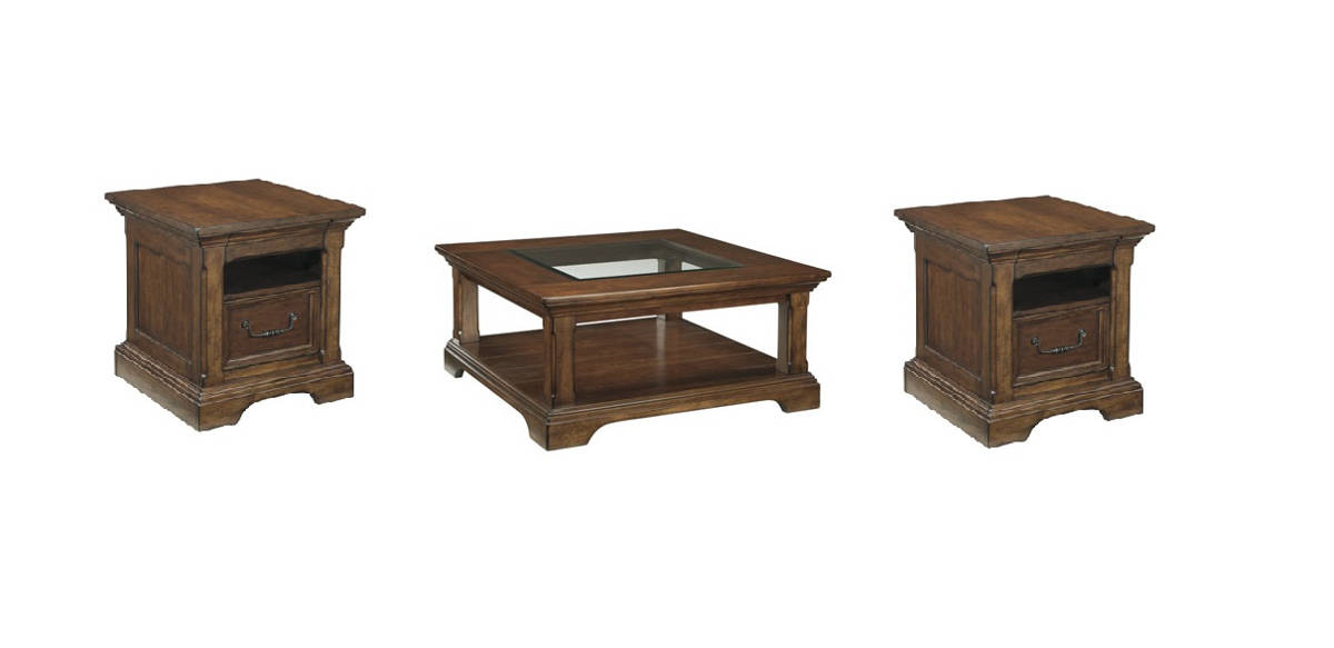 Gaylon Vintage Casual Burnished Brown Wood 3pc Coffee Table Set
