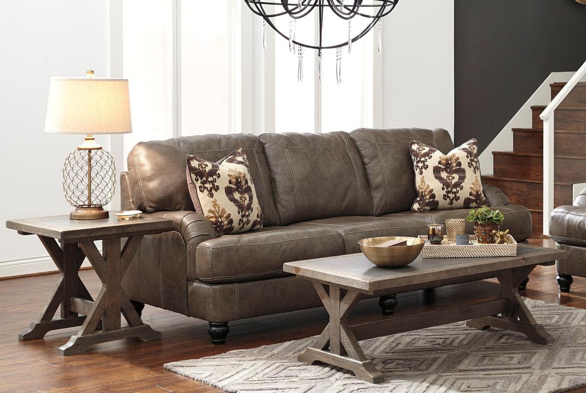 valkner vintage casual grayish brown 3pc coffee table set the