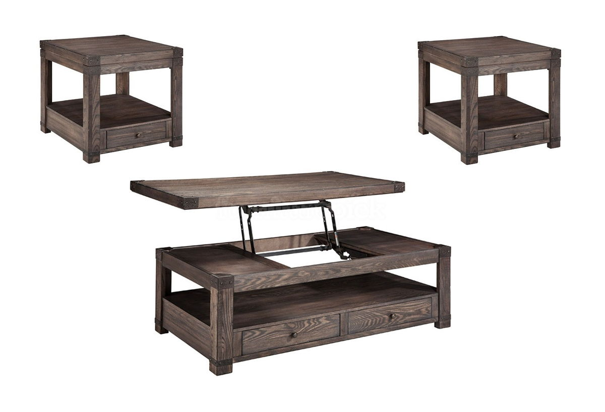 Ashley Furniture Burladen 3pc Coffee Table Set With Rectangle End Table