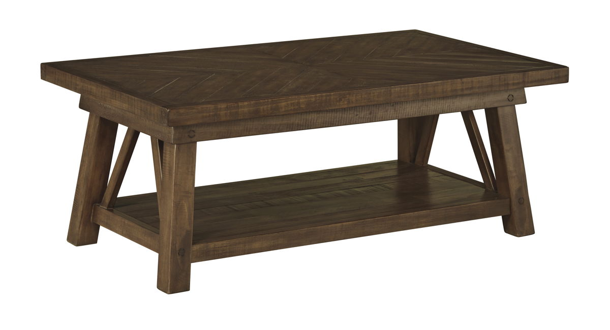 Dondie Casual Brown Wood Rectangular Cocktail Table T863-1