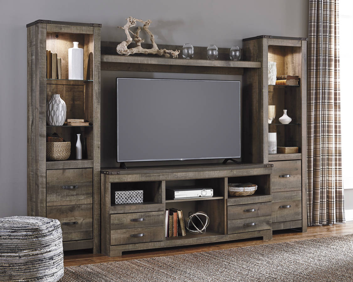 Ashley Furniture Trinell Brown Entertainment Center Wall | The ...
