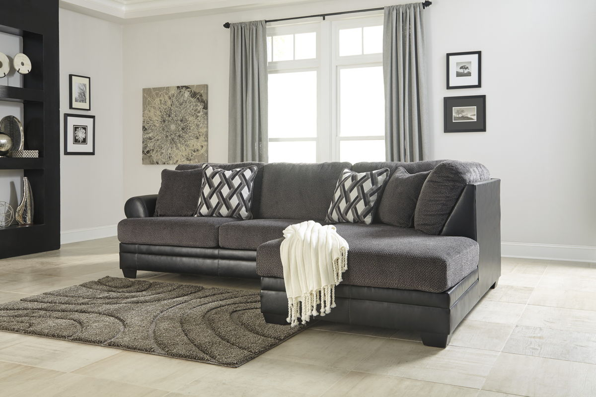 Ashley Furniture Kumasi Smoke Laf Sofa And Raf Chaise