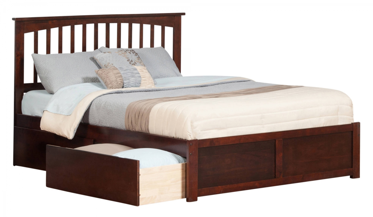 Atlantic furniture mission walnut flat panel footboard and for Urban home beds