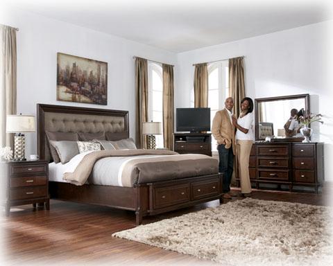 Larimer Contemporary Brown 5pc Bedroom Set W/Queen Storage ...